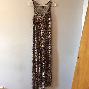 H&M Leopard Print Knit Maxi Dress M
